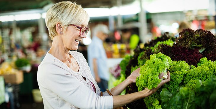 grandmother and veggies